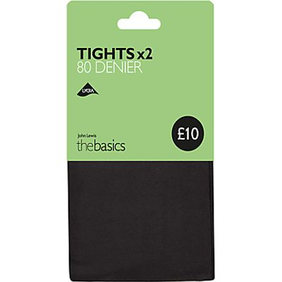 John Lewis 80 Denier Opaque Tights, Pack of 2