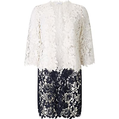 Jacques Vert Floral Lace Border Shacket, Multi/Cream