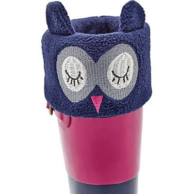 Little Joule Children's Owl Smile Welly Socks, Navy