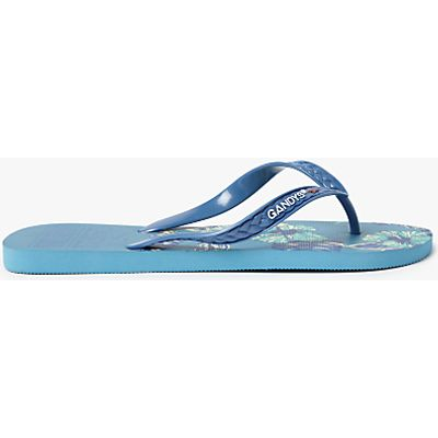 Gandys for John Lewis Tropical Print Flip Flops, Blue