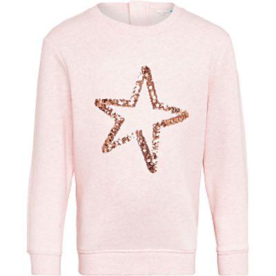 John Lewis Girls' Star Print Sweatshirt, Pink
