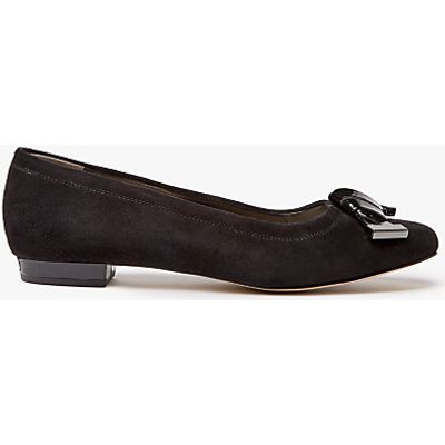 John Lewis Made in England Cedar Wide Fit Bow Pumps, Black