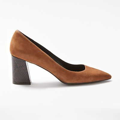 Modern Rarity Adella Angled Block Heeled Court Shoes  Tan - 23753921
