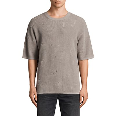 AllSaints Forram Long Sleeve Crew Jumper, Putty Grey Marl