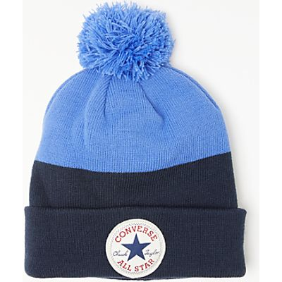 Converse Children's Block Colour Pom Beanie Hat, Black/Blue