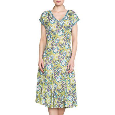 East Anokhi Open Rose Print Dress, Kiwi