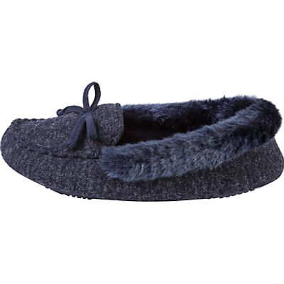 Totes Pillowstep Fine Knit Moccasin Slippers, Navy