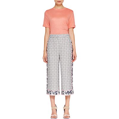Ted Baker Colour By Numbers Kalid Geo Floral Print Wide Leg Trousers, Mid Grey