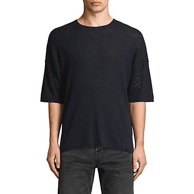 AllSaints Jace Short Sleeve Crew Jumper, Ink Navy