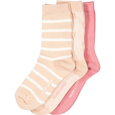 Polarn O. Pyret Children's Stripe Socks, Pack of 3, Pink