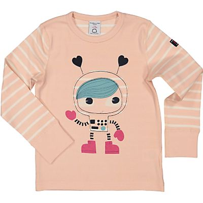 Polarn O. Pyret Children's Appliqué Cartoon Astronaut T-Shirt, Pink