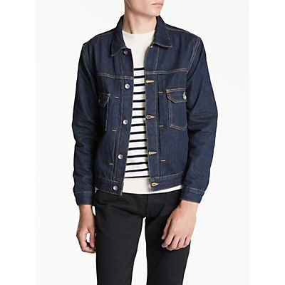 Hawksmill Denim Co Organic Cotton Crinkle Denim Jacket, Raw Denim