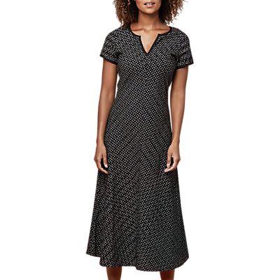 East Ikat Bias Cut Dress, Black