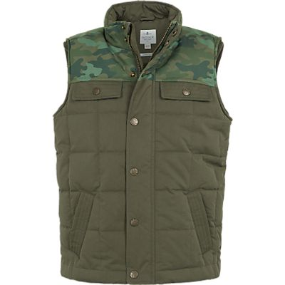 Fat Face Boys' Camouflage Gilet, Khaki
