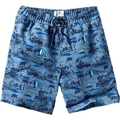 Fat Face Resort Boys' Boardie Swim Shorts, Blue