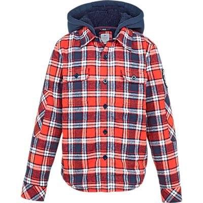 Fat Face Boys' Warmwell Check Shacket, Red