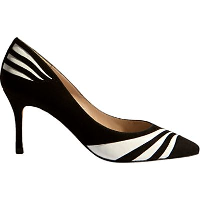 Karen Millen Striped Pointed Toe Court Shoes, Black and White