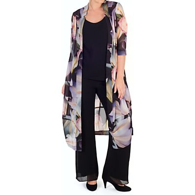 Chesca Print Chiffon Coat, Black/Multi