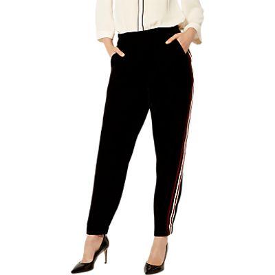 Karen Millen Velvet Sporty Trousers, Black