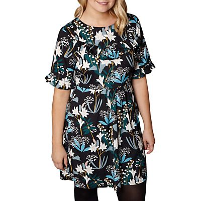 Yumi Curves Snowdrop Ruffle Dress, Black
