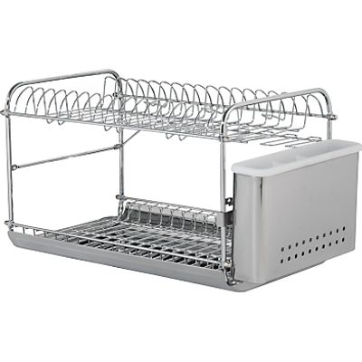 John Lewis 2 Tier Dish and Cutlery Drainer  Stainless Steel