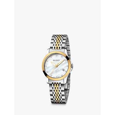 Gucci YA126513 Women's G-Timeless Mother of Pearl Diamond Two Tone Bracelet Strap Watch, Silver/Gold
