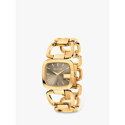 Gucci YA125408 Women's G-Gucci Gold Plated Bracelet Strap Watch, Gold/Taupe