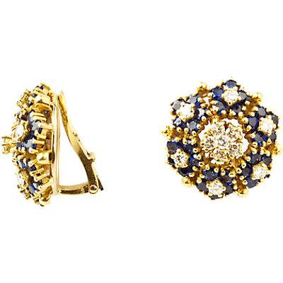 Turner & Leveridge 1980s 18ct Gold Sapphire Diamond Cluster Clip-On Earrings, Gold