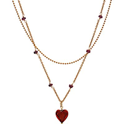 20954383 | Martick Murano Glass Double Chain Heart and Rose Pendant Necklace Store