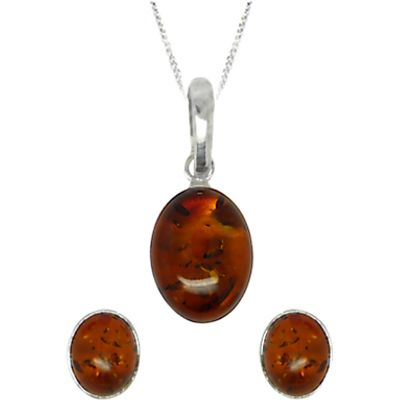 Goldmajor Sterling Silver Amber Oval Pendant and Earrings Set, Silver/Amber