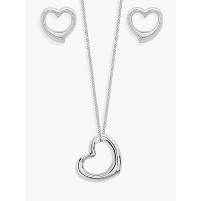 IBB 9ct White Gold Heart Necklace and Stud Earrings Set, White
