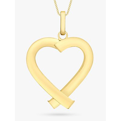 IBB 9ct Yellow Gold Triangular Tube Heart Pendant, Gold