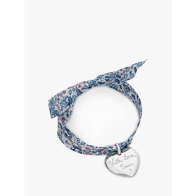 Merci Maman Personalised Sterling Silver Heart Liberty Bracelet