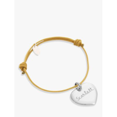 Merci Maman Personalised Sterling Silver Heart Bracelet