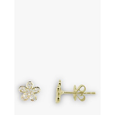 EWA 18ct Gold Flower Diamond Stud Earrings, Gold