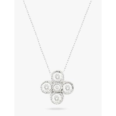 EWA 18ct White Gold Millgrain Diamond Pendant, White Gold