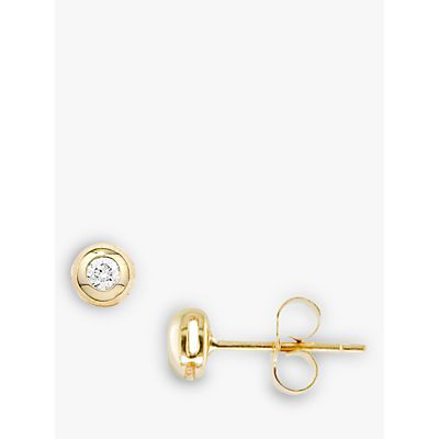 EWA 9ct Yellow Gold Single Stone Diamond Stud Earrings, Gold