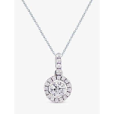 EWA 18ct White Gold Diamond Claw Set Cluster Pendant Necklace, White Gold