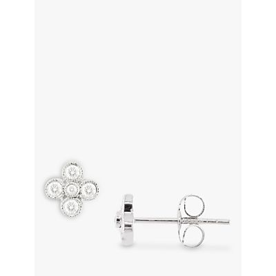 EWA 18ct White Gold Diamond Millgrain Stud Earrings, White Gold