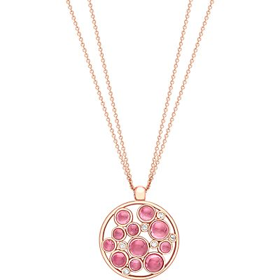 London Road 9ct Gold Diamond Bubble Cluster Pendant, Rose Gold/Pink Tourmaline