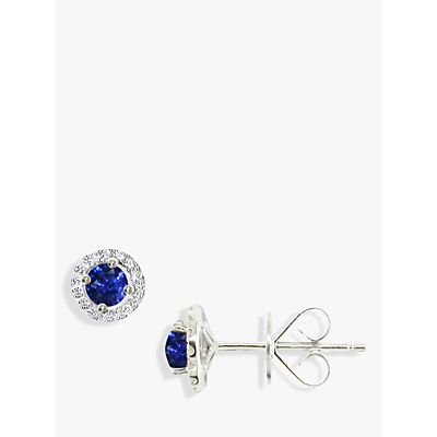 EWA 18ct White Gold Diamond Sapphire Claw Set Cluster Stud Earrings, Sapphire