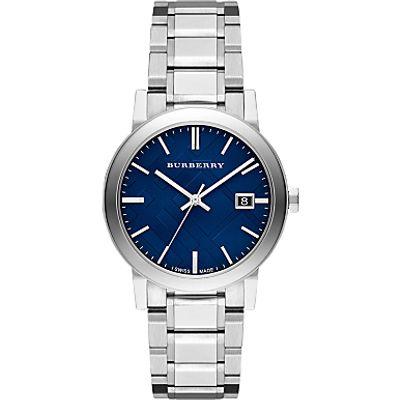 Burberry BU9031 Men's The City Date Bracelet Strap Watch, Silver/Blue