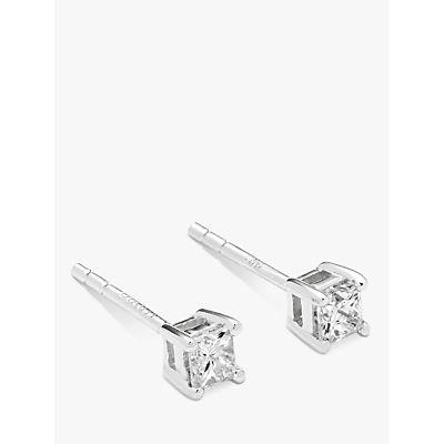 Diamond Collection 18ct White Gold Princess Cut Solitaire Diamond Stud Earrings, 0.33ct