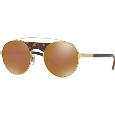 Giorgio Armani AR6047 Round Sunglasses, Gold/Mirror Brown