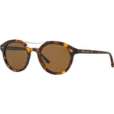 Giorgio Armani AR8007 Frames of Life Polarised Round Sunglasses, Tortoise/Brown