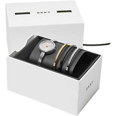 4053858778740 | DKNY NY2577 Women s Bracelet Strap Watch and Bangles Gift Set  Silver White Store