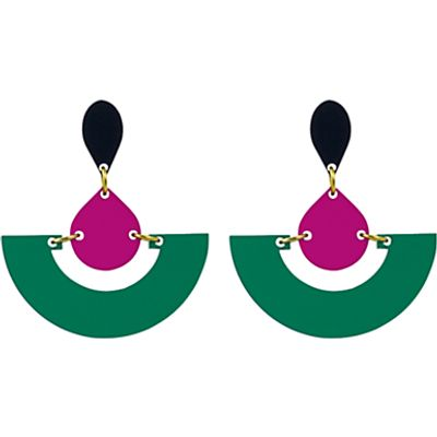 Toolally Fan Colour Block Drop Earrings