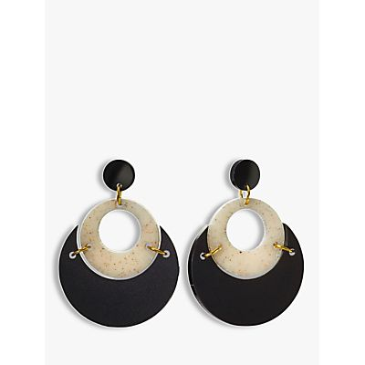 Toolally By Moonlight Circle Drop Earrings, Black/Sandstone