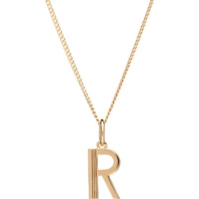 Rachel Jackson London 22ct Gold Vermeil Initial Pendant Necklace