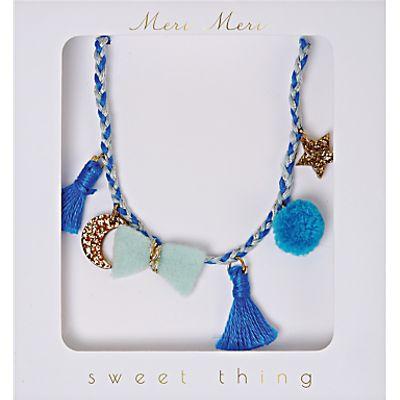 Meri Meri Children's Plaited Necklace, Blue